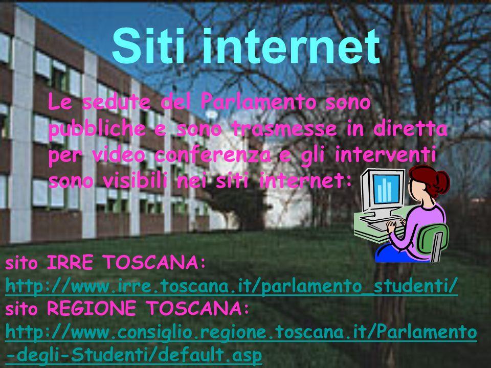 Siti internet Le sedute del Parlamento sono pubbliche e sono trasmesse in diretta per video conferenza e gli interventi sono visibili nei siti interne
