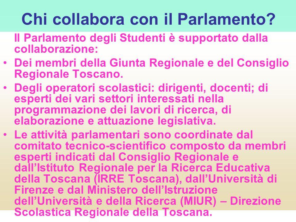 Chi collabora con il Parlamento? Il Parlamento degli Studenti è supportato dalla collaborazione: Dei membri della Giunta Regionale e del Consiglio Reg
