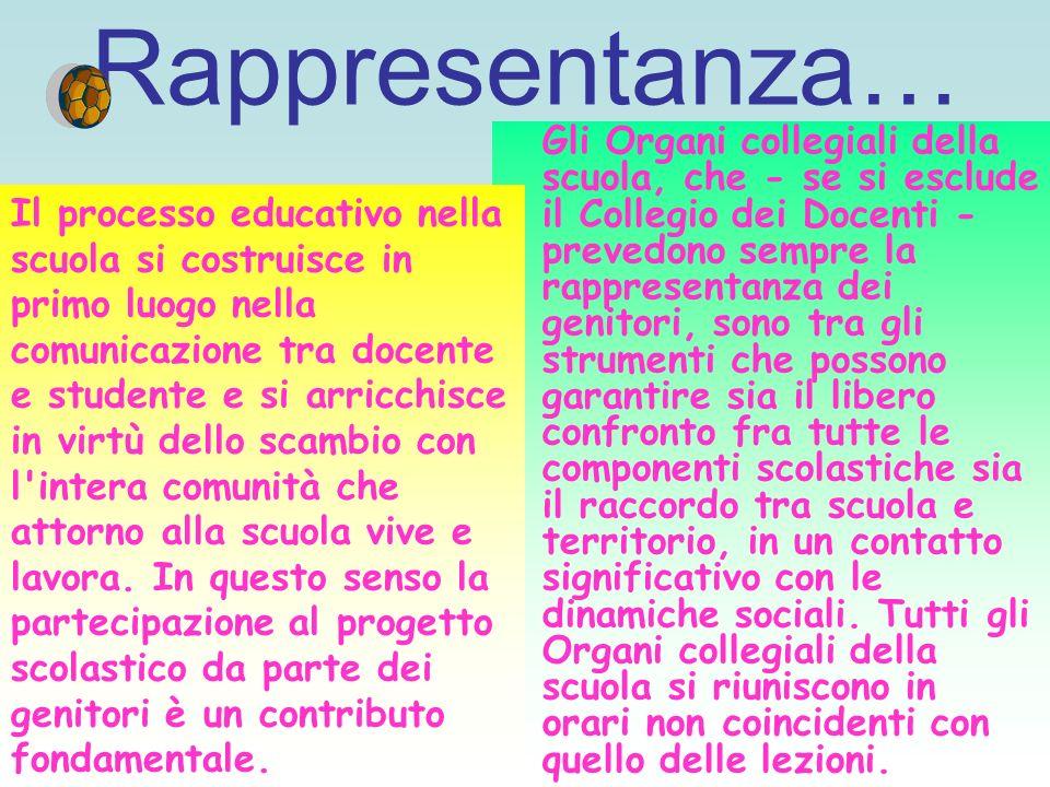 Rappresentanza… Gli Organi collegiali della scuola, che - se si esclude il Collegio dei Docenti - prevedono sempre la rappresentanza dei genitori, son