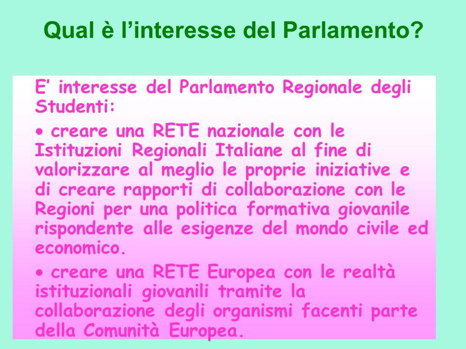 Qual è linteresse del Parlamento? E interesse del Parlamento Regionale degli Studenti: creare una RETE nazionale con le Istituzioni Regionali Italiane