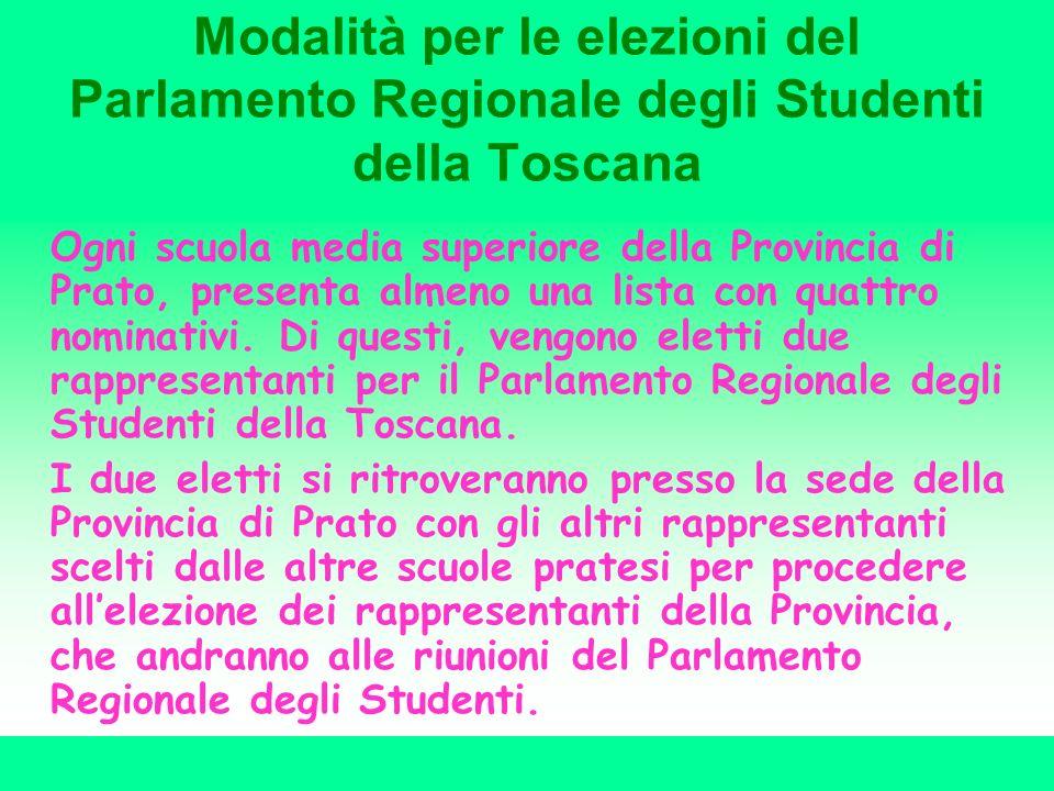 Modalità per le elezioni del Parlamento Regionale degli Studenti della Toscana Ogni scuola media superiore della Provincia di Prato, presenta almeno u