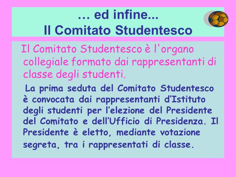 … ed infine... Il Comitato Studentesco Il Comitato Studentesco è l'organo collegiale formato dai rappresentanti di classe degli studenti. La prima sed