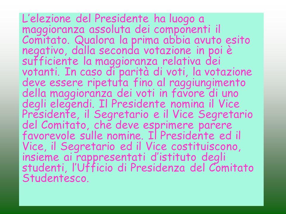 Lelezione del Presidente ha luogo a maggioranza assoluta dei componenti il Comitato. Qualora la prima abbia avuto esito negativo, dalla seconda votazi