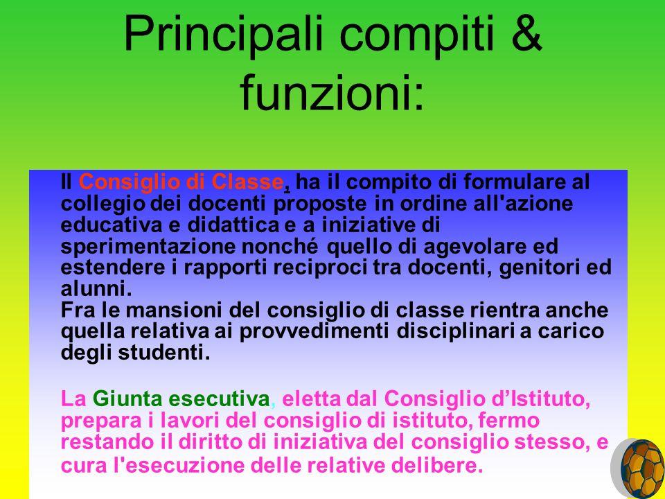 Principali compiti & funzioni: Il Consiglio di Classe, ha il compito di formulare al collegio dei docenti proposte in ordine all'azione educativa e di