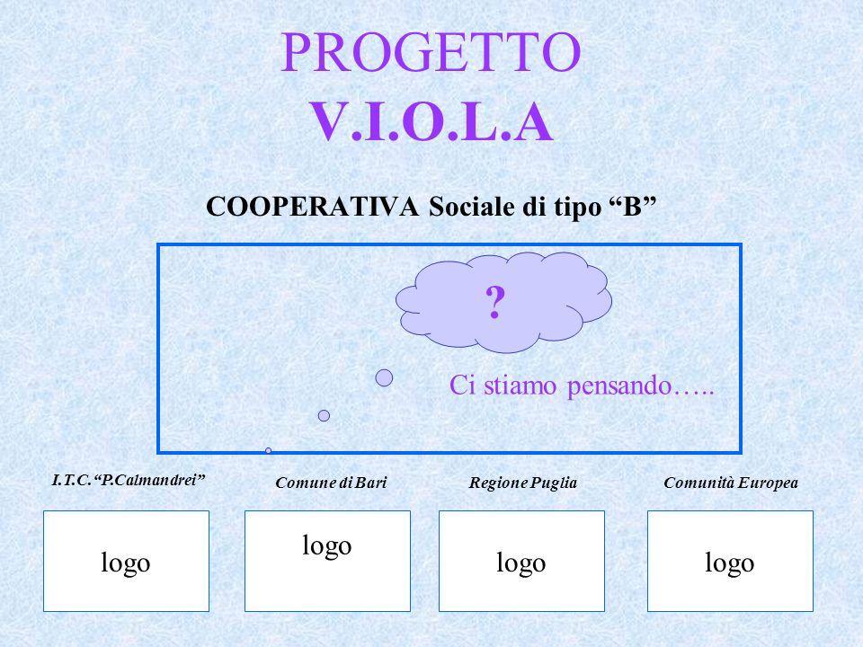 PROGETTO V.I.O.L.A COOPERATIVA Sociale di tipo B Ci stiamo pensando….. ? logo I.T.C.P.Calmandrei Comune di BariRegione PugliaComunità Europea