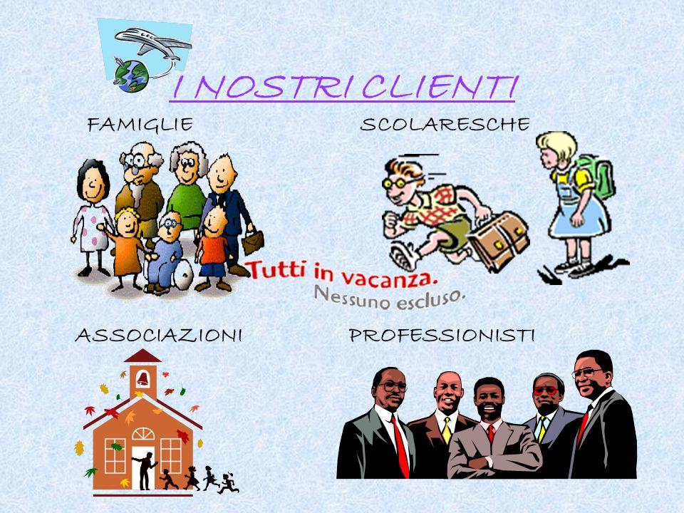 I NOSTRI CLIENTI FAMIGLIESCOLARESCHE ASSOCIAZIONIPROFESSIONISTI