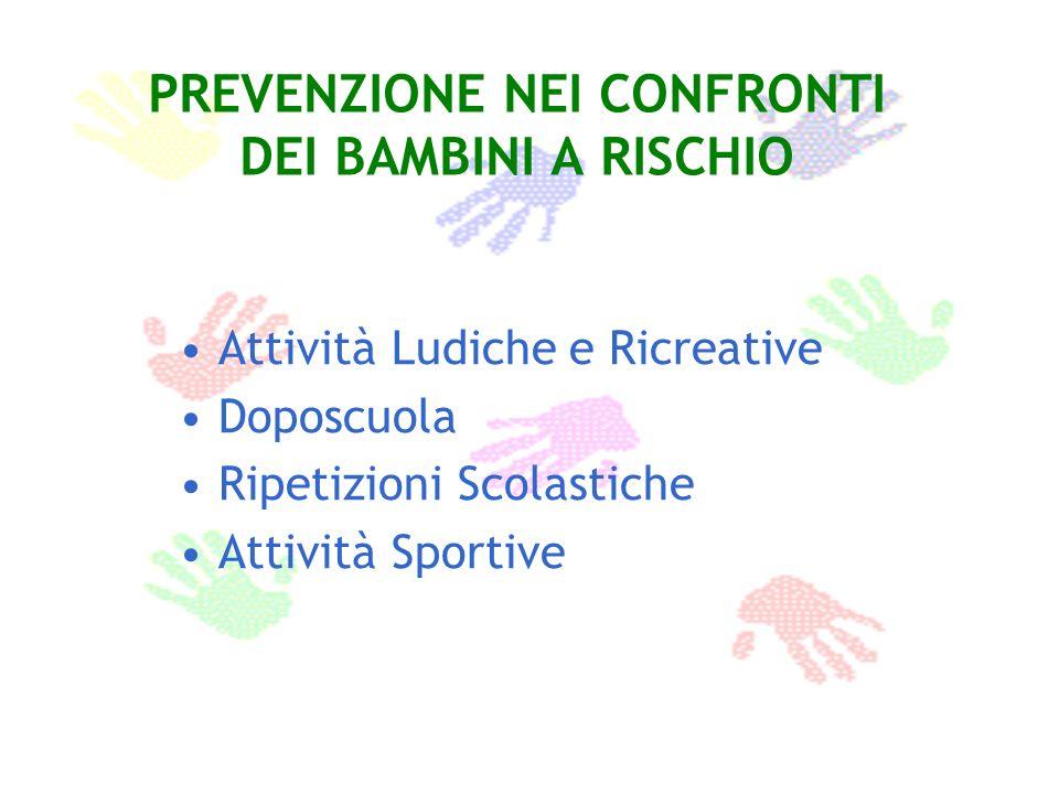PREVENZIONE NEI CONFRONTI DEI BAMBINI A RISCHIO Attività Ludiche e Ricreative Doposcuola Ripetizioni Scolastiche Attività Sportive
