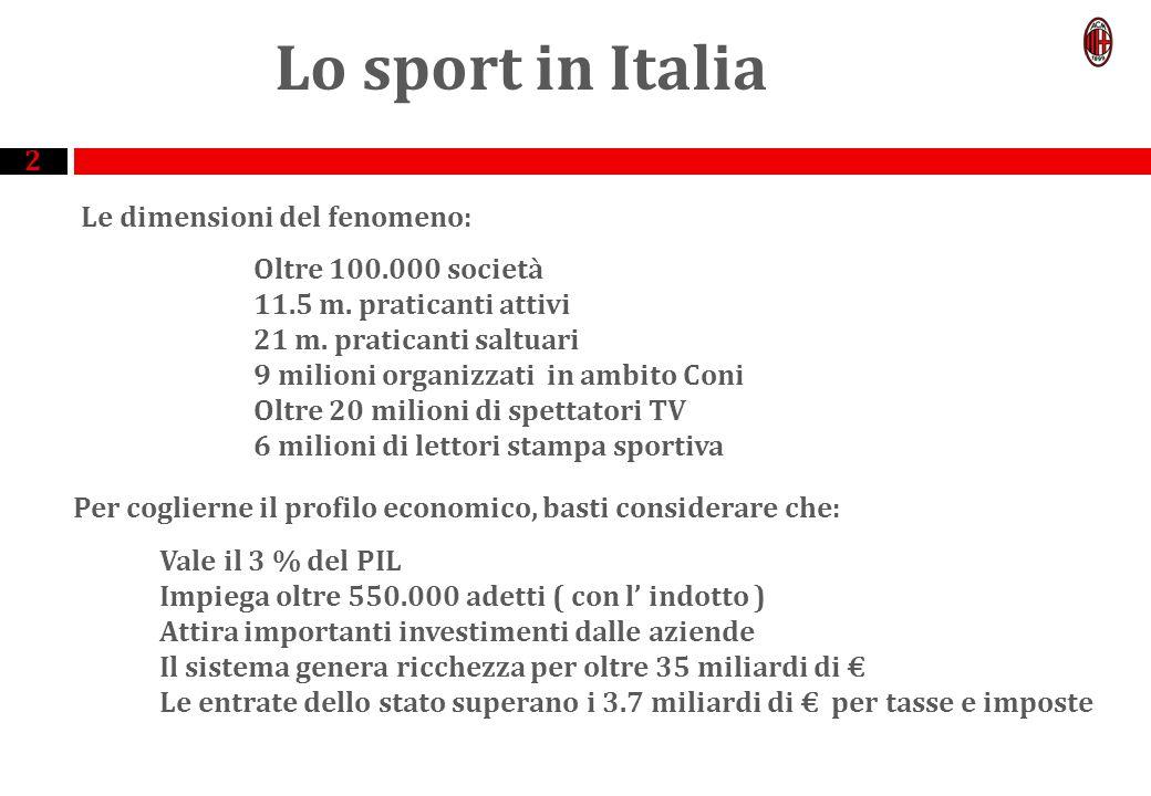 2 Lo sport in Italia Le dimensioni del fenomeno: Oltre 100.000 società 11.5 m.