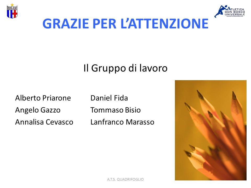 GRAZIE PER LATTENZIONE Il Gruppo di lavoro Alberto PriaroneDaniel Fida Angelo GazzoTommaso Bisio Annalisa Cevasco Lanfranco Marasso A.T.S.