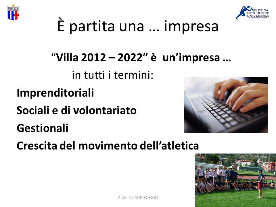 È partita una … impresa Villa 2012 – 2022 è unimpresa … in tutti i termini: Imprenditoriali Sociali e di volontariato Gestionali Crescita del movimento dellatletica A.T.S.