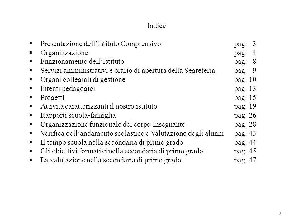 Indice Presentazione dellIstituto Comprensivopag. 3 Organizzazionepag. 4 Funzionamento dellIstitutopag. 8 Servizi amministrativi e orario di apertura