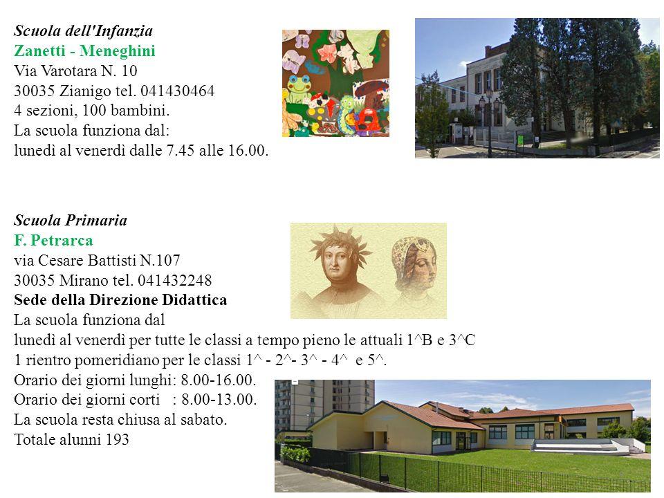 Scuola dell'Infanzia Zanetti - Meneghini Via Varotara N. 10 30035 Zianigo tel. 041430464 4 sezioni, 100 bambini. La scuola funziona dal: lunedì al ven