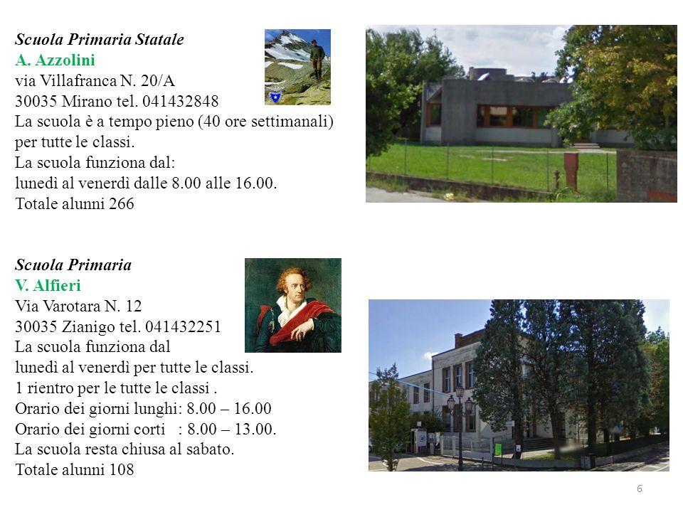 Scuola Primaria Statale A. Azzolini via Villafranca N. 20/A 30035 Mirano tel. 041432848 La scuola è a tempo pieno (40 ore settimanali) per tutte le cl