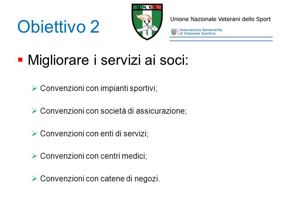 Obiettivo 2 Migliorare i servizi ai soci: Convenzioni con impianti sportivi; Convenzioni con società di assicurazione; Convenzioni con enti di servizi