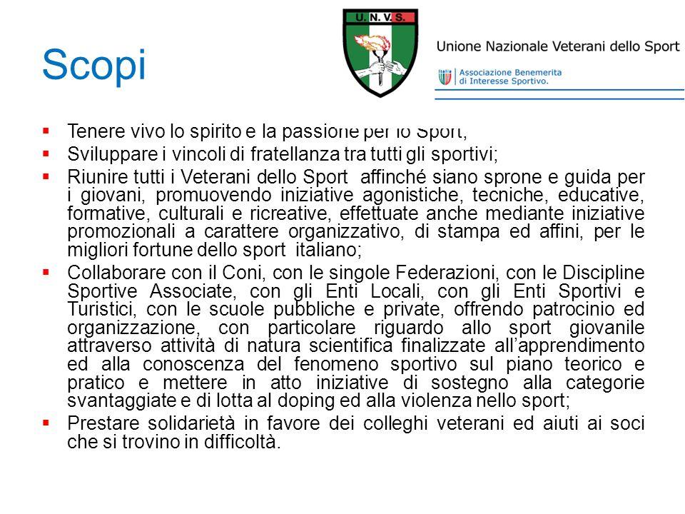 Scopi Tenere vivo lo spirito e la passione per lo Sport; Sviluppare i vincoli di fratellanza tra tutti gli sportivi; Riunire tutti i Veterani dello Sp