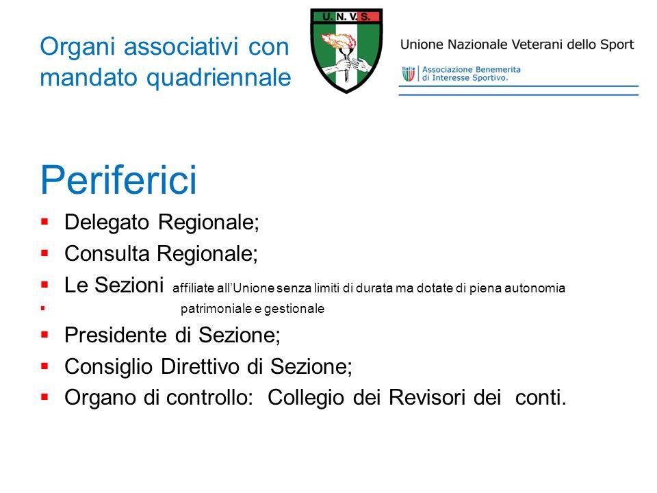 Organi associativi con mandato quadriennale Periferici Delegato Regionale; Consulta Regionale; Le Sezioni affiliate allUnione senza limiti di durata m