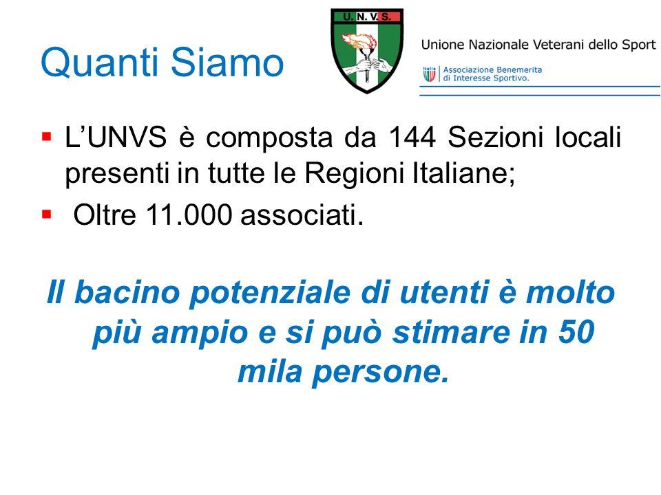 Quanti Siamo LUNVS è composta da 144 Sezioni locali presenti in tutte le Regioni Italiane; Oltre 11.000 associati. Il bacino potenziale di utenti è mo
