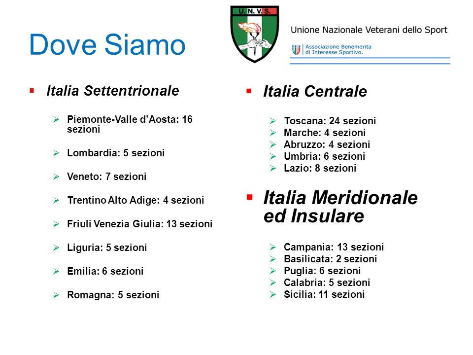 Dove Siamo Italia Settentrionale Piemonte-Valle dAosta: 16 sezioni Lombardia: 5 sezioni Veneto: 7 sezioni Trentino Alto Adige: 4 sezioni Friuli Venezi