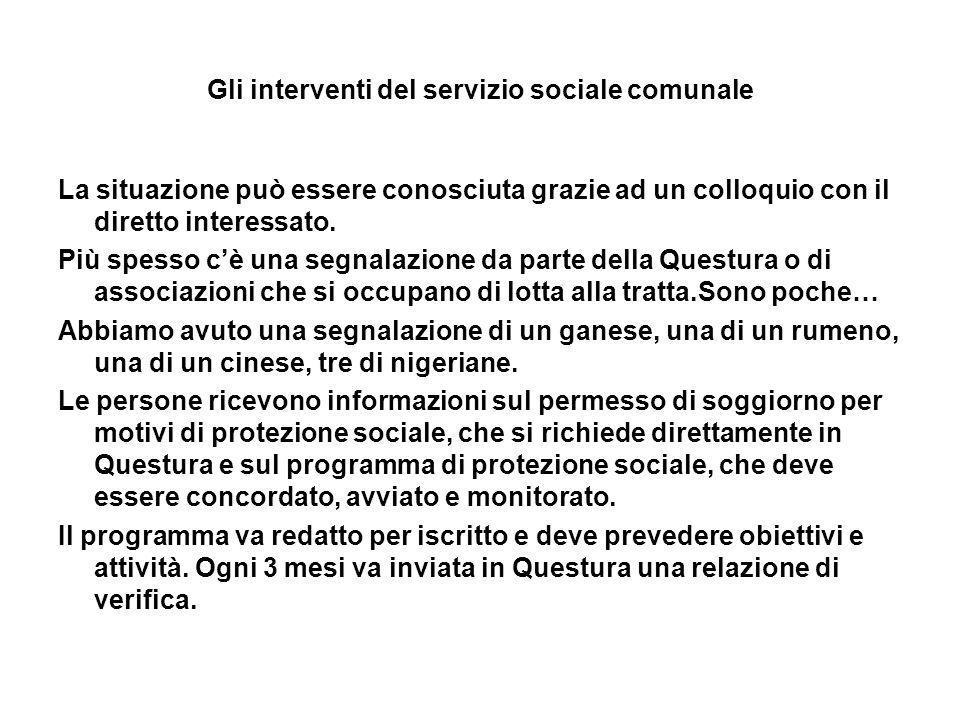 Gli interventi del servizio sociale comunale La situazione può essere conosciuta grazie ad un colloquio con il diretto interessato. Più spesso cè una