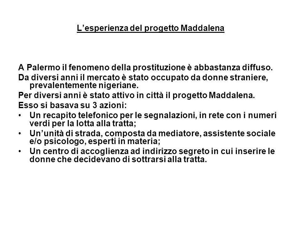 Lesperienza del progetto Maddalena A Palermo il fenomeno della prostituzione è abbastanza diffuso. Da diversi anni il mercato è stato occupato da donn