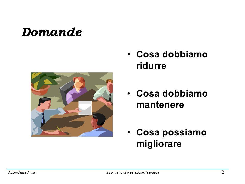 1 CONTRATTO DI PRESTAZIONE La pratica: impatto e conseguenze sulla qualità delle prestazioni offerte Anna Abbondanza Responsabile Settore Cure Casa Anziani