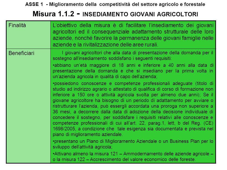 ASSE 1 - Miglioramento della competitività del settore agricolo e forestale Misura 1.1.1 - Azioni nel campo formazione e dellinformazione Finalità La