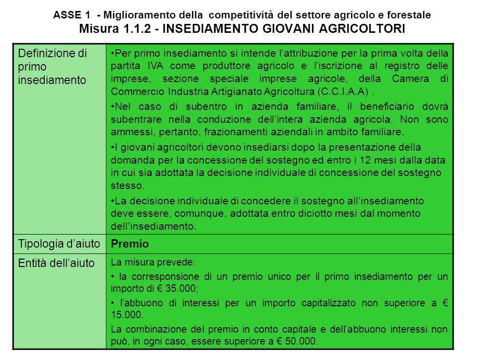 ASSE 1 - Miglioramento della competitività del settore agricolo e forestale Misura 1.1.2 - INSEDIAMENTO GIOVANI AGRICOLTORI FinalitàLobiettivo della m