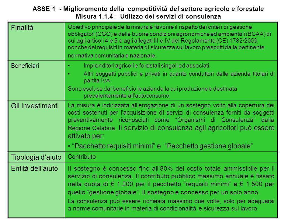 ASSE 1 - Miglioramento della competitività del settore agricolo e forestale Misura 1.1.3 – Prepensionamento degli imprenditori e dei lavoratori agrico