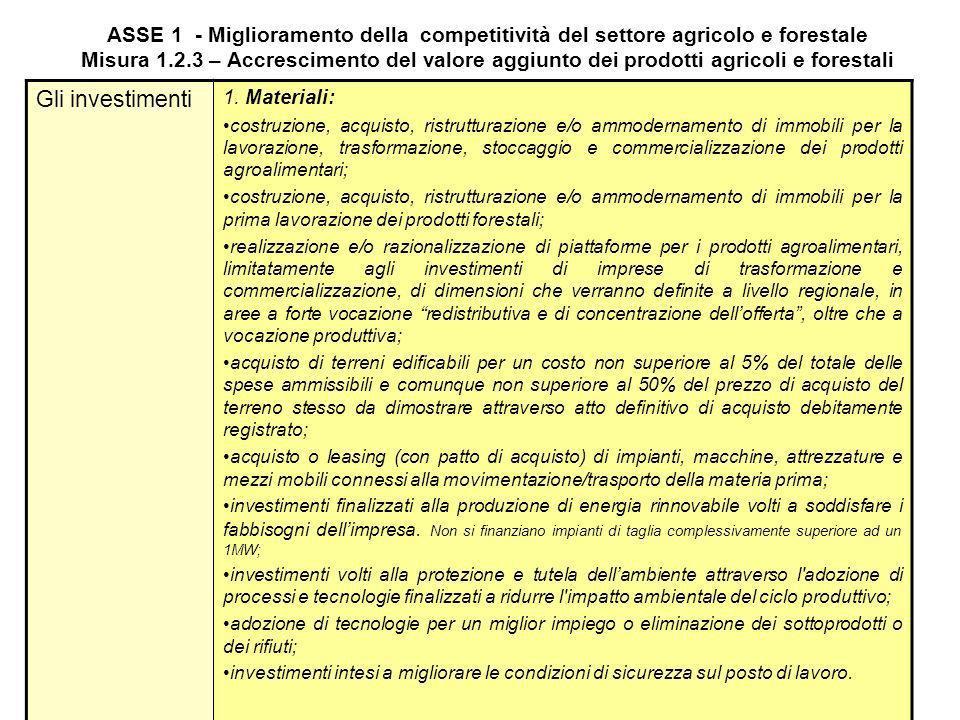 ASSE 1 - Miglioramento della competitività del settore agricolo e forestale Misura 1.2.3 – Accrescimento del valore aggiunto dei prodotti agricoli e f