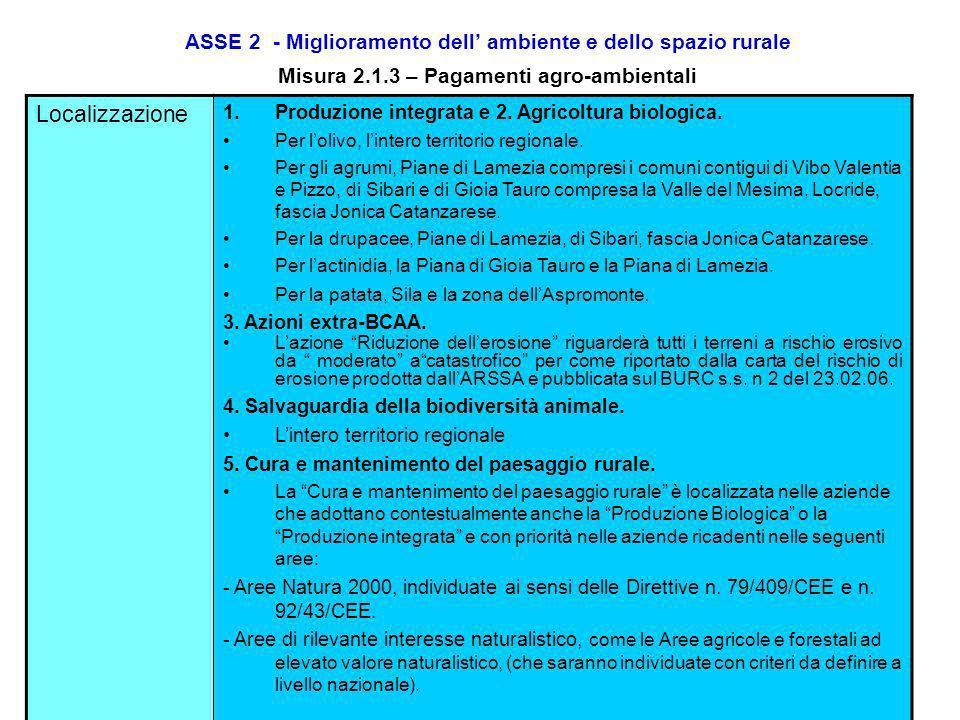 ASSE 2 - Miglioramento dell ambiente e dello spazio rurale Misura 2.1.3 – Pagamenti agro-ambientali Entità dellaiuto2. Agricoltura biologica. INTRODUZ