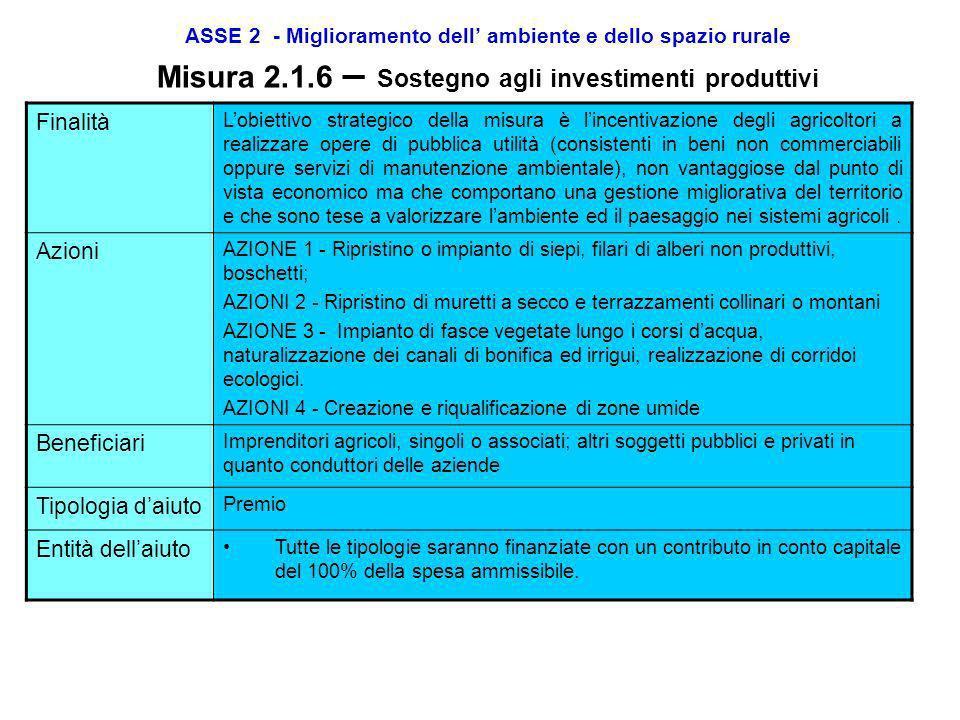 ASSE 2 - Miglioramento dell ambiente e dello spazio rurale Misura 2.1.3 – Pagamenti agro-ambientali Localizzazione 1.Produzione integrata e 2. Agricol