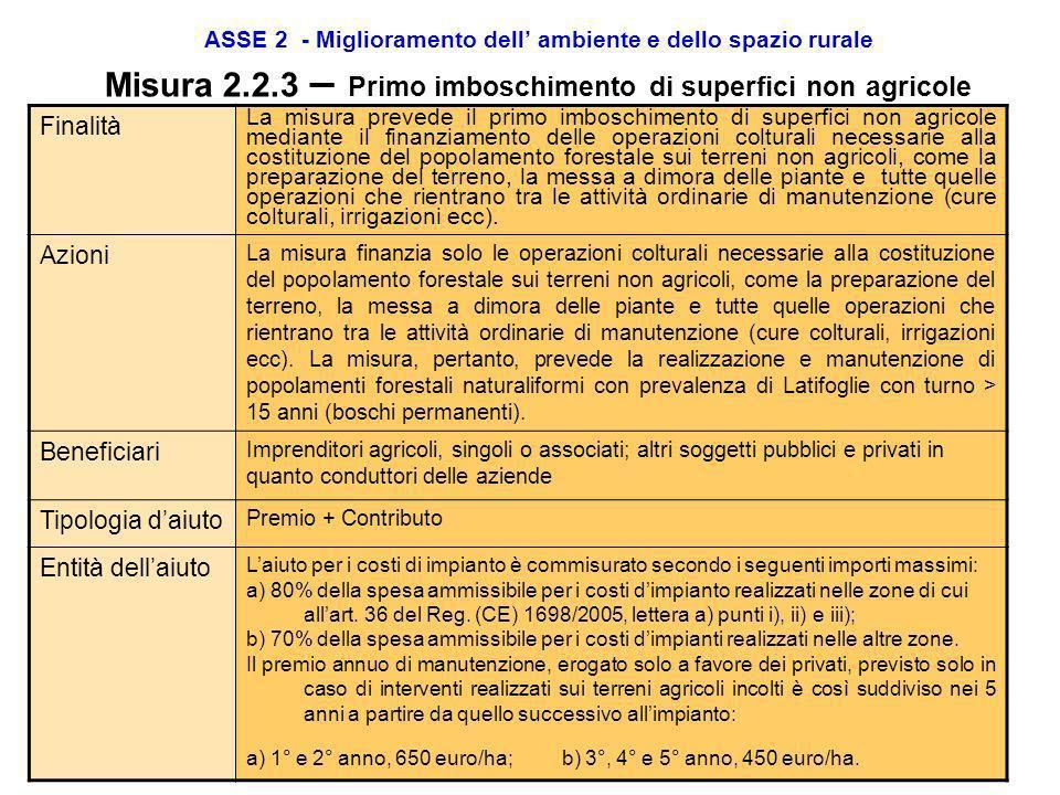 ASSE 2 - Miglioramento dell ambiente e dello spazio rurale Misura 2.2.1 – Primo imboschimento di terreni agricoli Entità dellaiuto POPOLAMENTI FORESTA