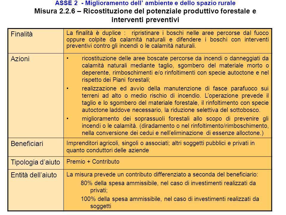 ASSE 2 - Miglioramento dell ambiente e dello spazio rurale Misura 2.2.3 – Primo imboschimento di superfici non agricole Finalità La misura prevede il