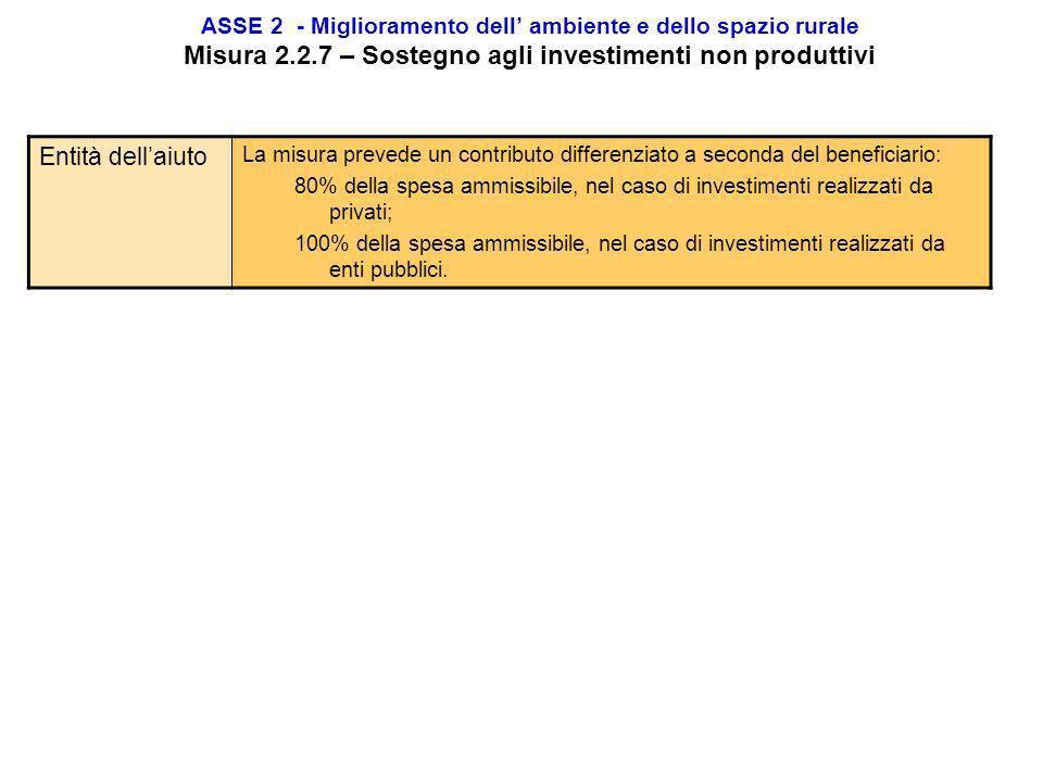 ASSE 2 - Miglioramento dell ambiente e dello spazio rurale Misura 2.2.7 – Sostegno agli investimenti non produttivi Finalità Incentivare i selvicoltor