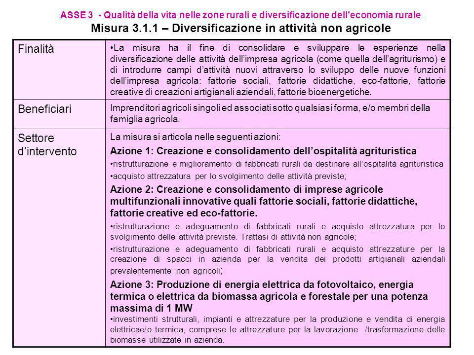 ASSE 2 - Miglioramento dell ambiente e dello spazio rurale Misura 2.2.7 – Sostegno agli investimenti non produttivi Entità dellaiuto La misura prevede