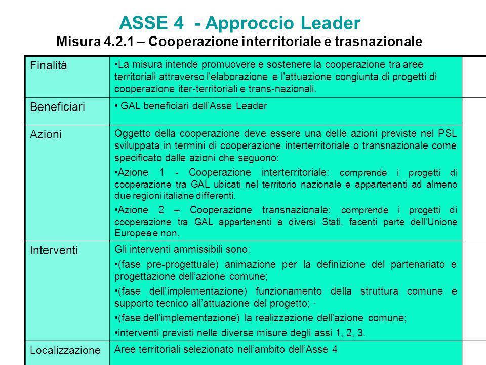 ASSE 4 - Approccio Leader Misura 4.1.3 – Qualità della vita e diversificazione delleconomia rurale Finalità Realizzare progetti di valorizzazione dei