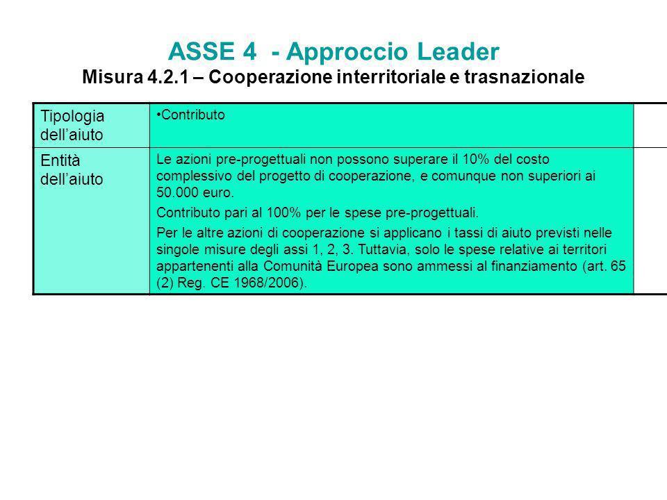 ASSE 4 - Approccio Leader Misura 4.2.1 – Cooperazione interritoriale e trasnazionale Finalità La misura intende promuovere e sostenere la cooperazione