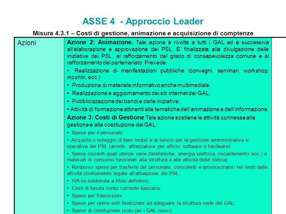 ASSE 4 - Approccio Leader Misura 4.3.1 – Costi di gestione, animazione e acquisizione di competenze Finalità La misura intende sostenere la progettazi