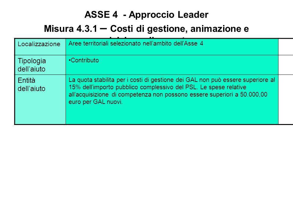 ASSE 4 - Approccio Leader Misura 4.3.1 – Costi di gestione, animazione e acquisizione di comptenze Azioni Azione 2: Animazione. Tale azione è rivolta