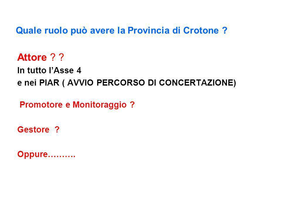 Interroghiamoci: Quale ruolo può avere la Provincia di Crotone ? Attore Misura 1.1.1 - Azioni nel campo formazione e dellinformazione Azione 1 (Organi