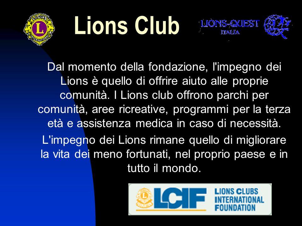 Lions Club Ampliando il proprio ruolo internazionale, Lions Clubs International ha fornito aiuto alle Nazioni Unite nella formazione di organizzazioni non governative nel 1945 e continua a svolgere una funzione di consulenza all interno dell ONU.