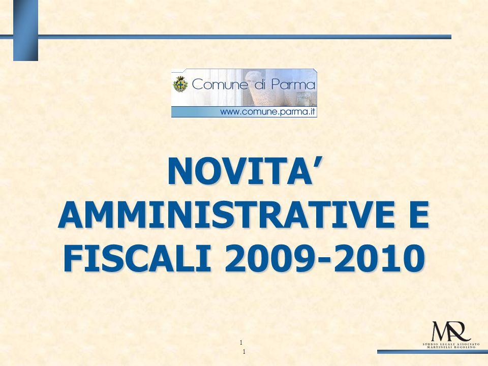 1 NOVITA AMMINISTRATIVE E FISCALI 2009-2010 1