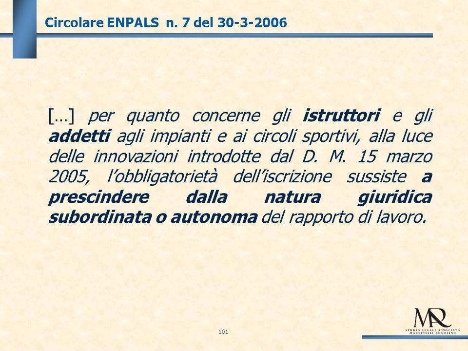 Circolare ENPALS n.