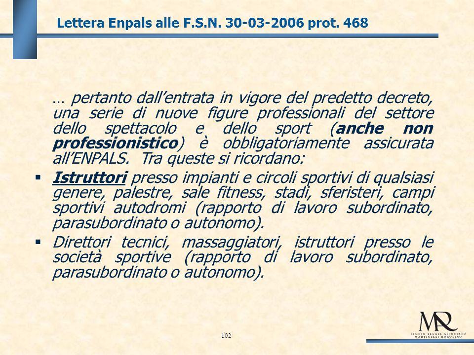 Lettera Enpals alle F.S.N. 30-03-2006 prot.