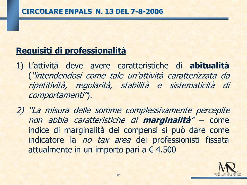 Requisiti di professionalità 1)Lattività deve avere caratteristiche di abitualità (intendendosi come tale unattività caratterizzata da ripetitività, regolarità, stabilità e sistematicità di comportamenti).