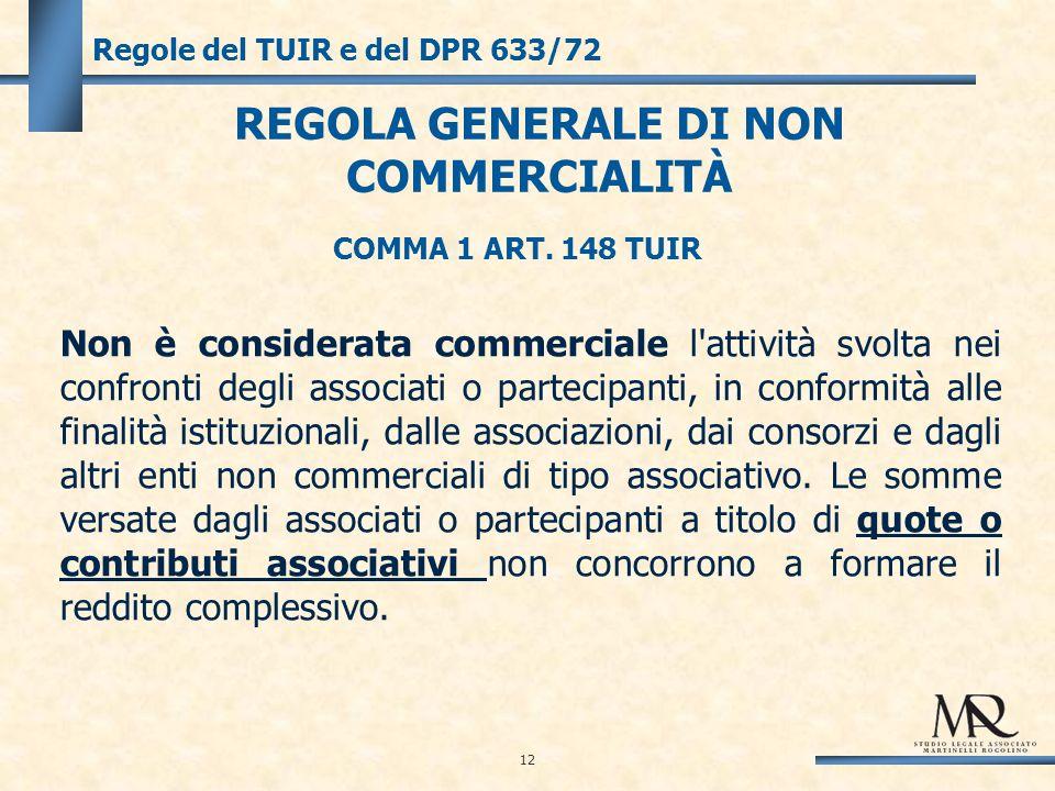 12 Regole del TUIR e del DPR 633/72 COMMA 1 ART.