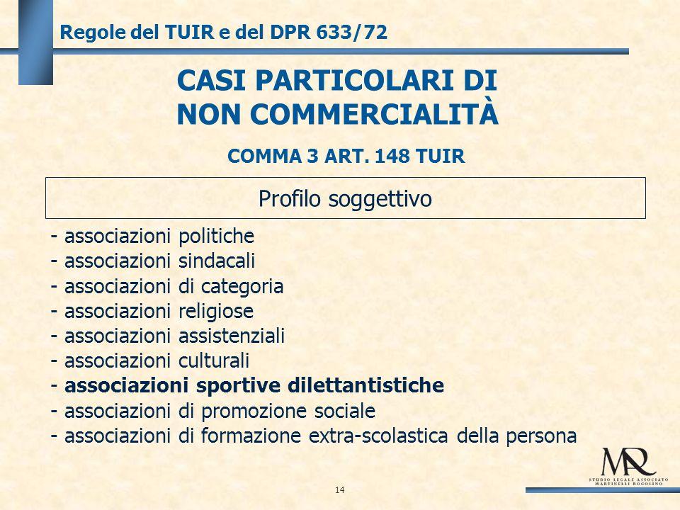 14 Regole del TUIR e del DPR 633/72 CASI PARTICOLARI DI NON COMMERCIALITÀ - associazioni politiche - associazioni sindacali - associazioni di categoria - associazioni religiose - associazioni assistenziali - associazioni culturali - associazioni sportive dilettantistiche - associazioni di promozione sociale - associazioni di formazione extra-scolastica della persona Profilo soggettivo COMMA 3 ART.