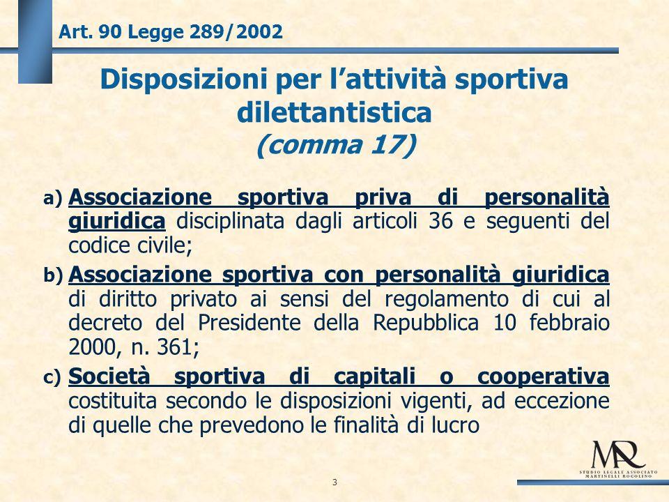 34 Art.90 Legge 289/2002 – Comma 1 Le disposizioni della legge 16 dicembre 1991, n.