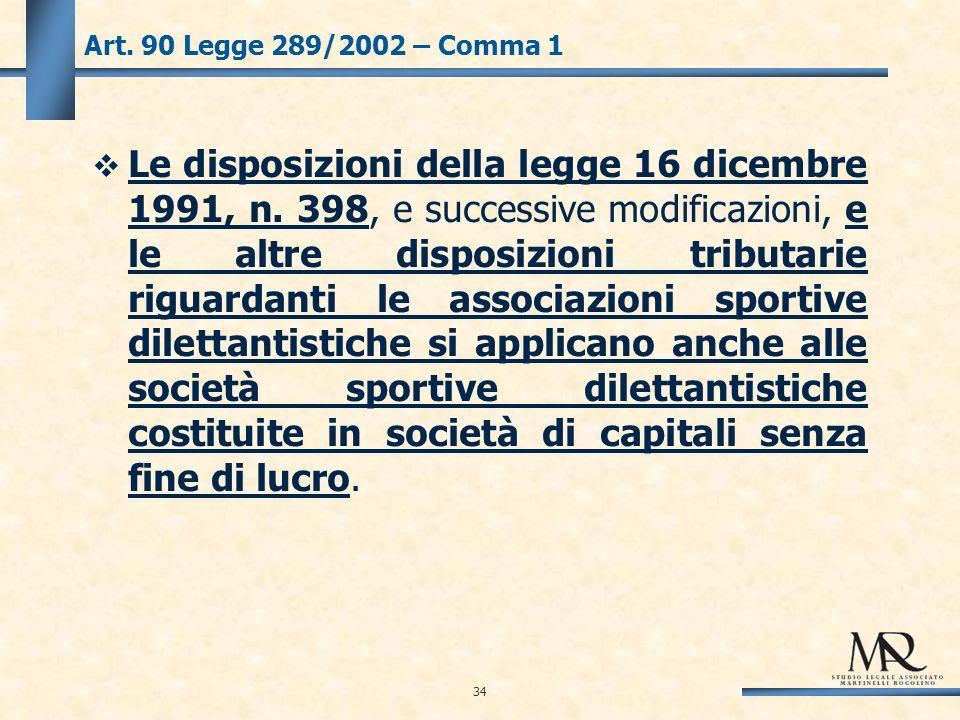 34 Art. 90 Legge 289/2002 – Comma 1 Le disposizioni della legge 16 dicembre 1991, n.