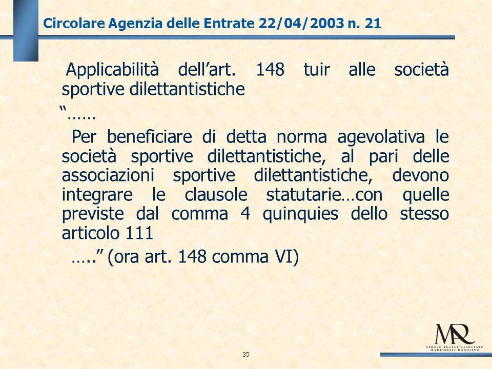 35 Circolare Agenzia delle Entrate 22/04/2003 n. 21 Applicabilità dellart.